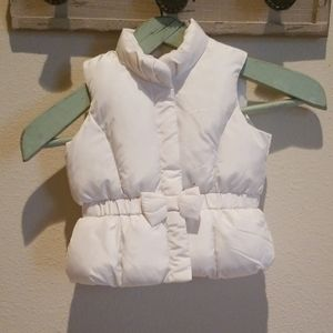 Baby Gap Puffer Vest w/Bow Off White 18-24 Months